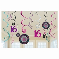 SWIRL DECORATINS SWEET SIXTEEN