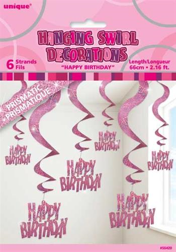 HANGING DECORATION H B-DAY GLITZ PINK