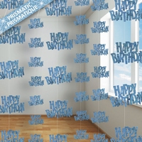 HANGING DECORATION H B-DAY GLITZ BLUE