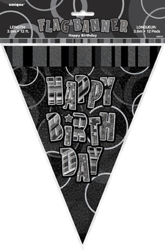 FLAG BANNER H B-DAY GLITZ BLACK
